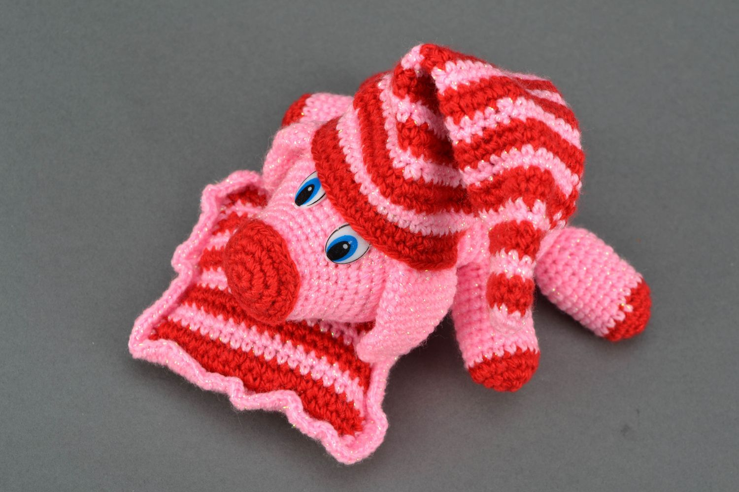 Soft crochet toy Pink Pig on Pillow photo 3