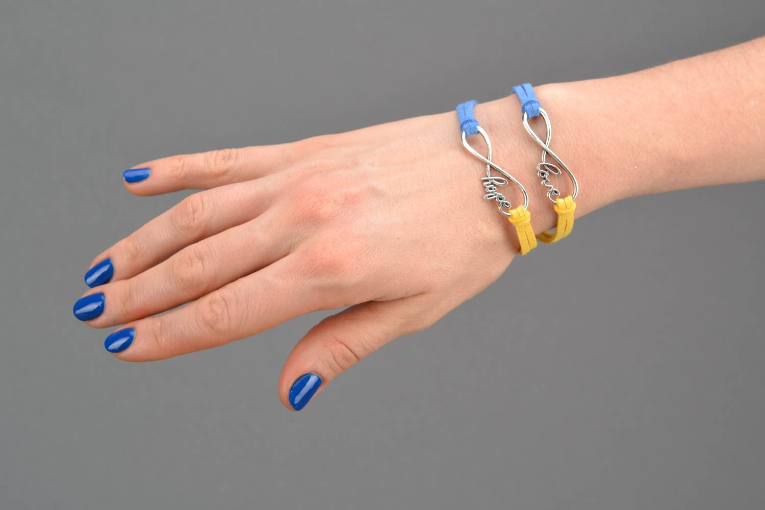 Suede bracelet with metal insert photo 2