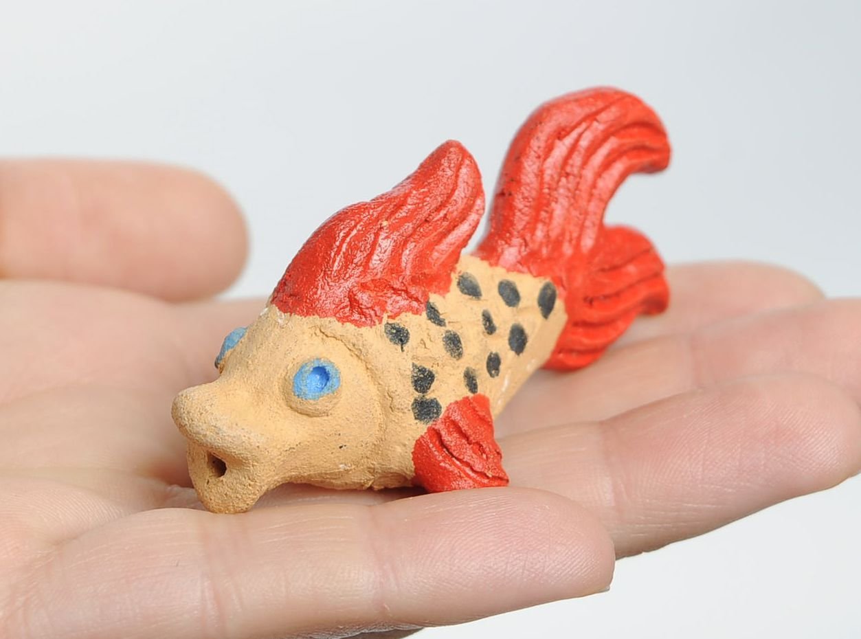 Clay penny whistle Small fish photo 4