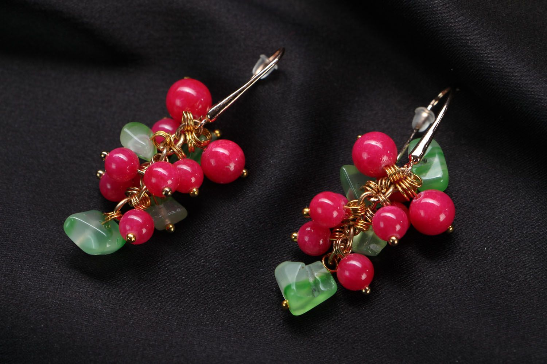 Handmade earrings with natural stones Berries photo 1