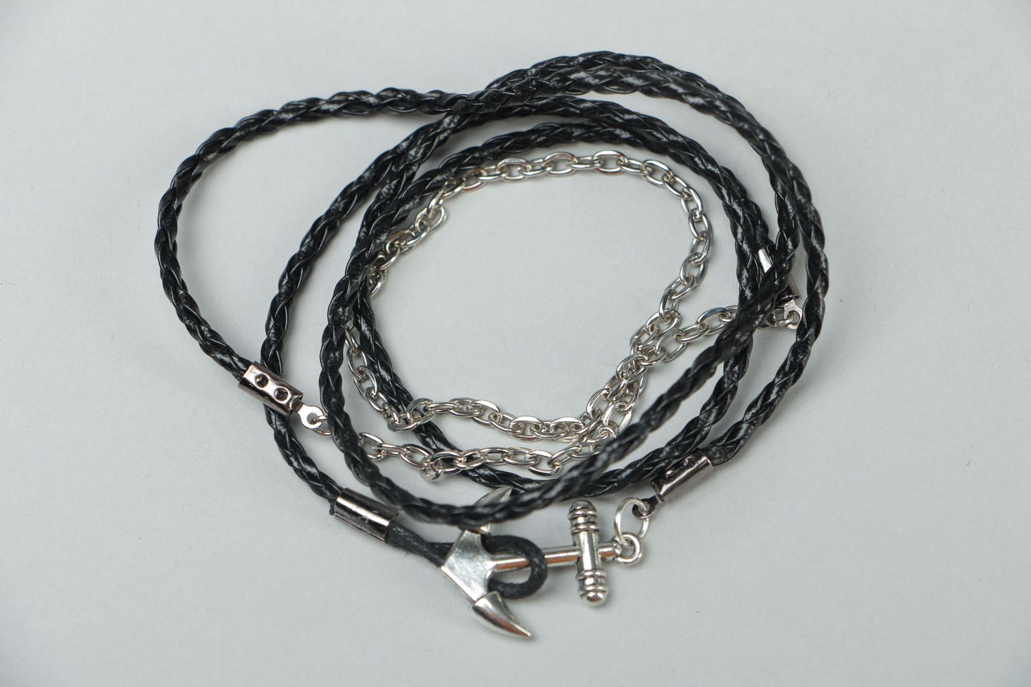 Handmade woven bracelet made of artificial leather Anchor photo 1