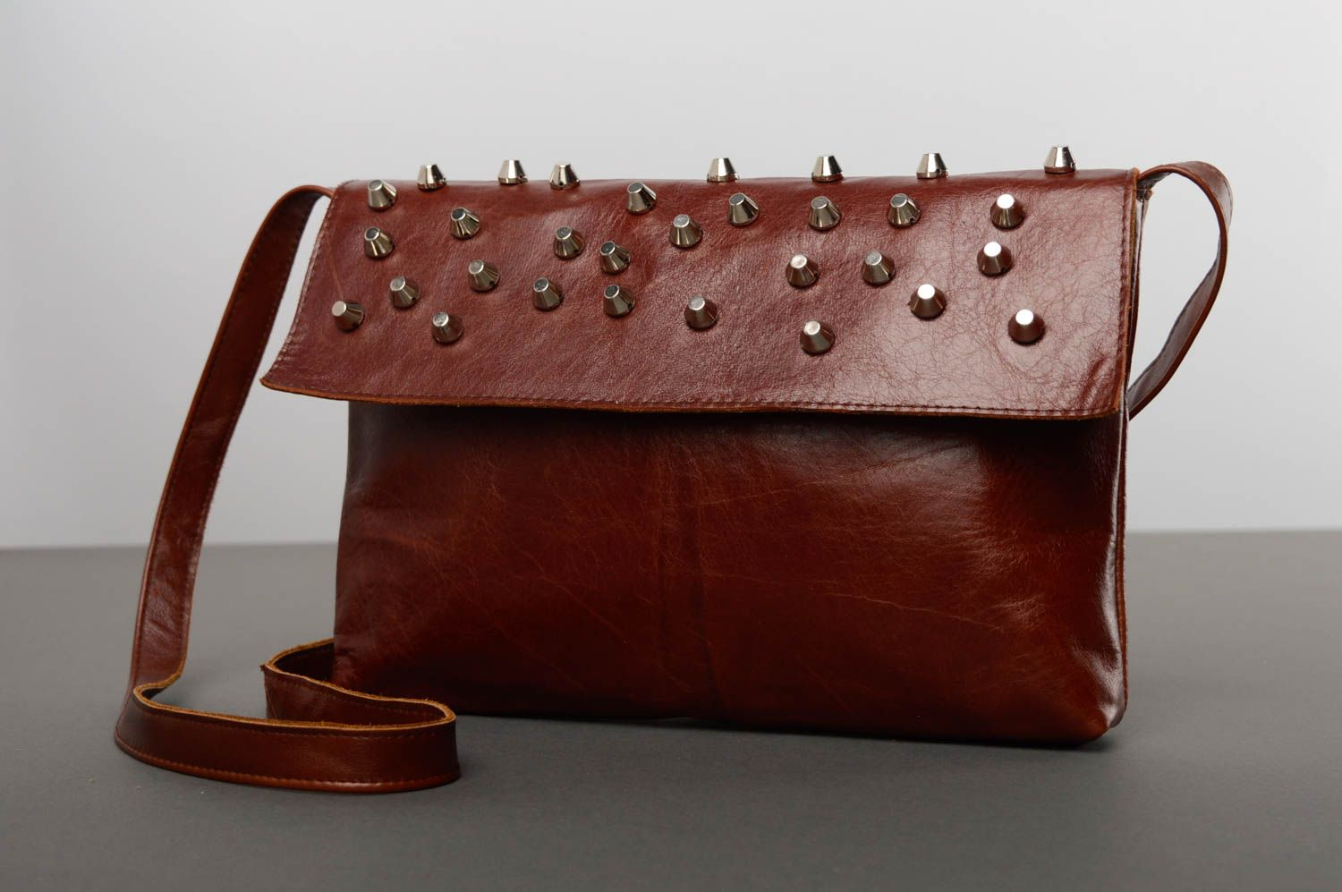 women's handbags Unusual leather bag with studs - MADEheart.com