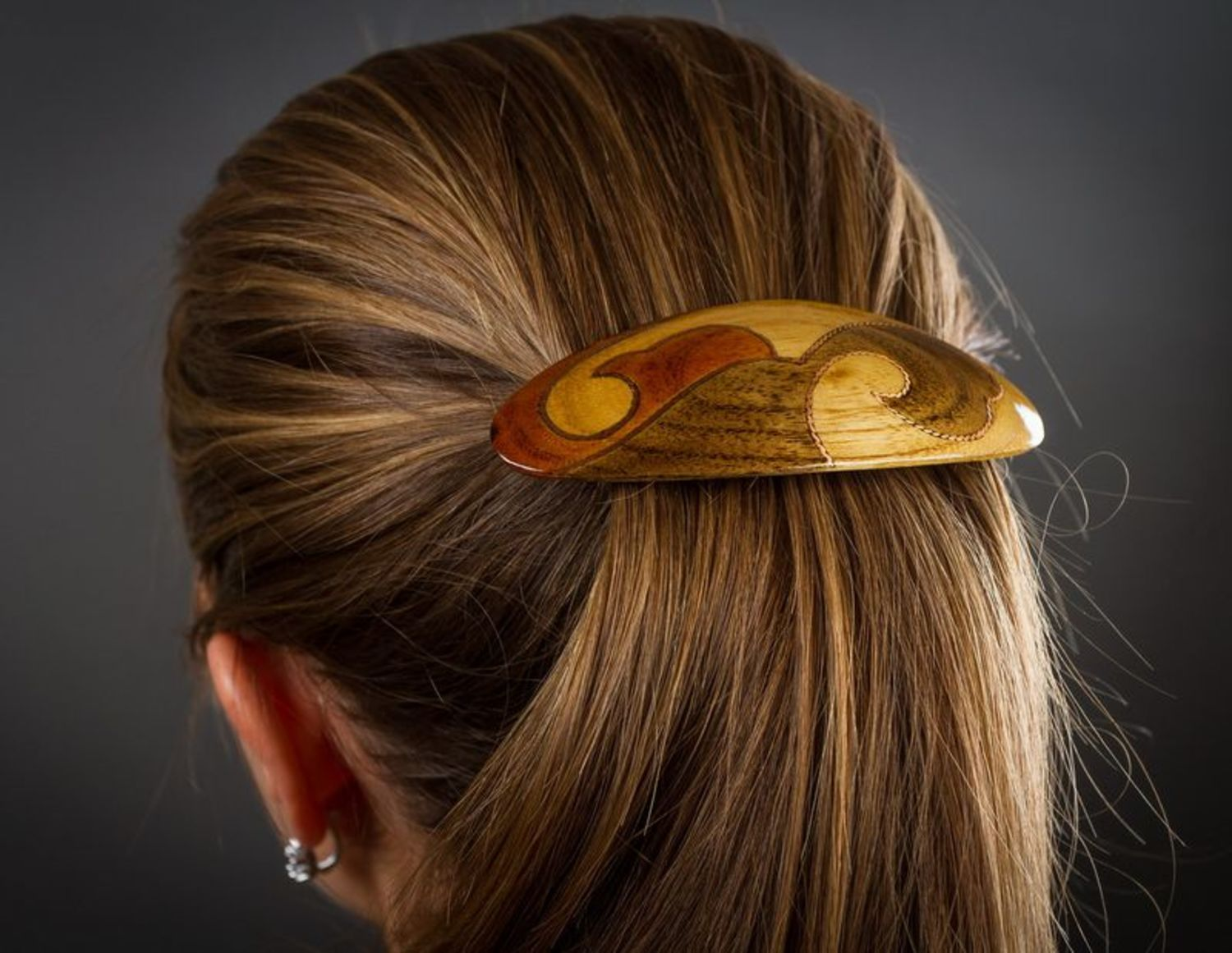 Wooden oval hair pin photo 2