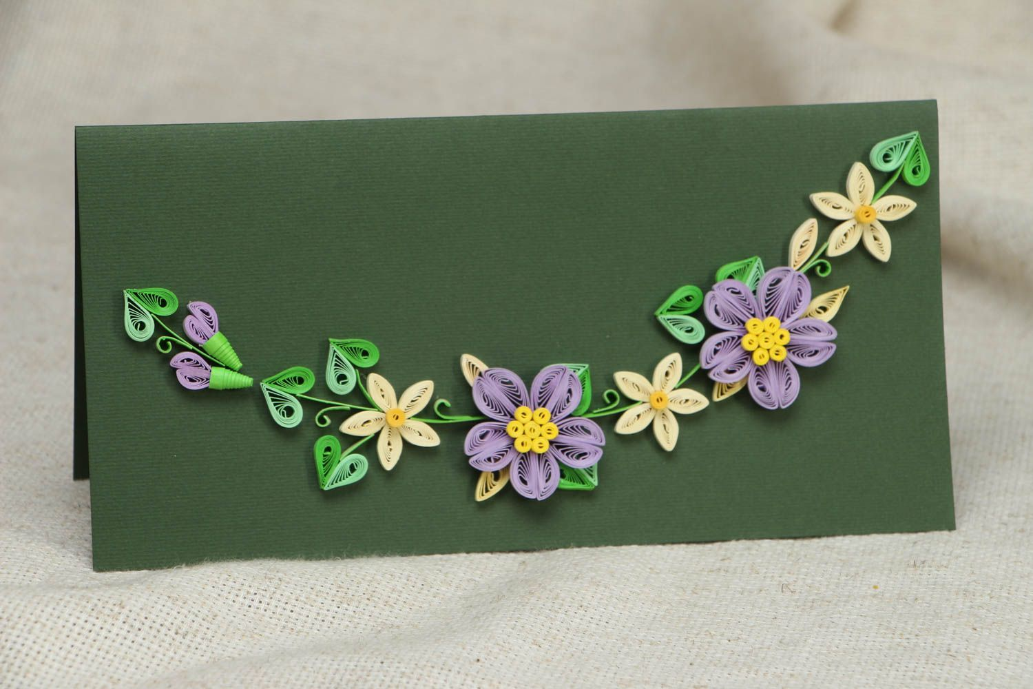 Long greeting card with flowers photo 1