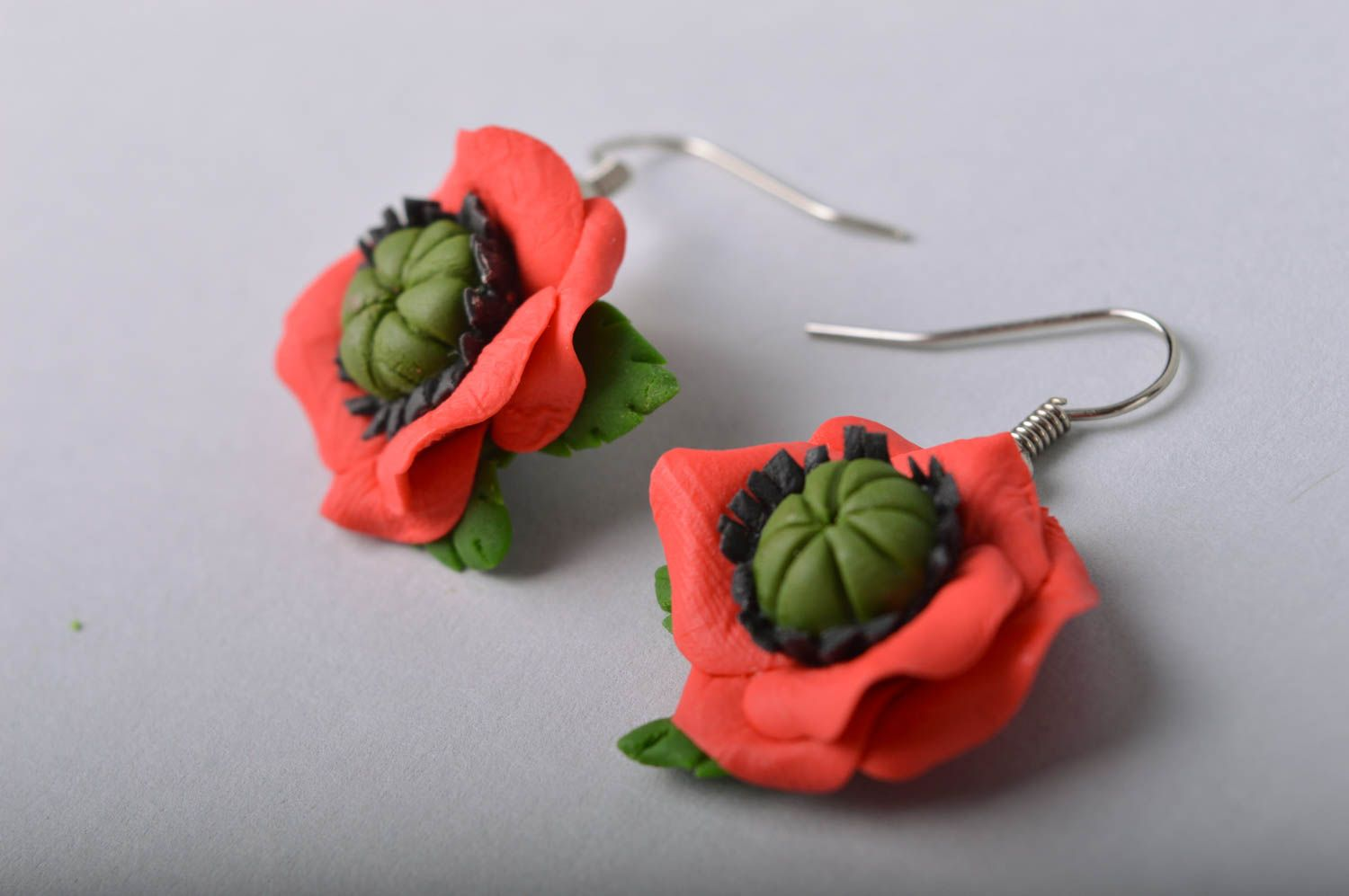 Handmade designer floral cold porcelain dangling earrings red poppies photo 3