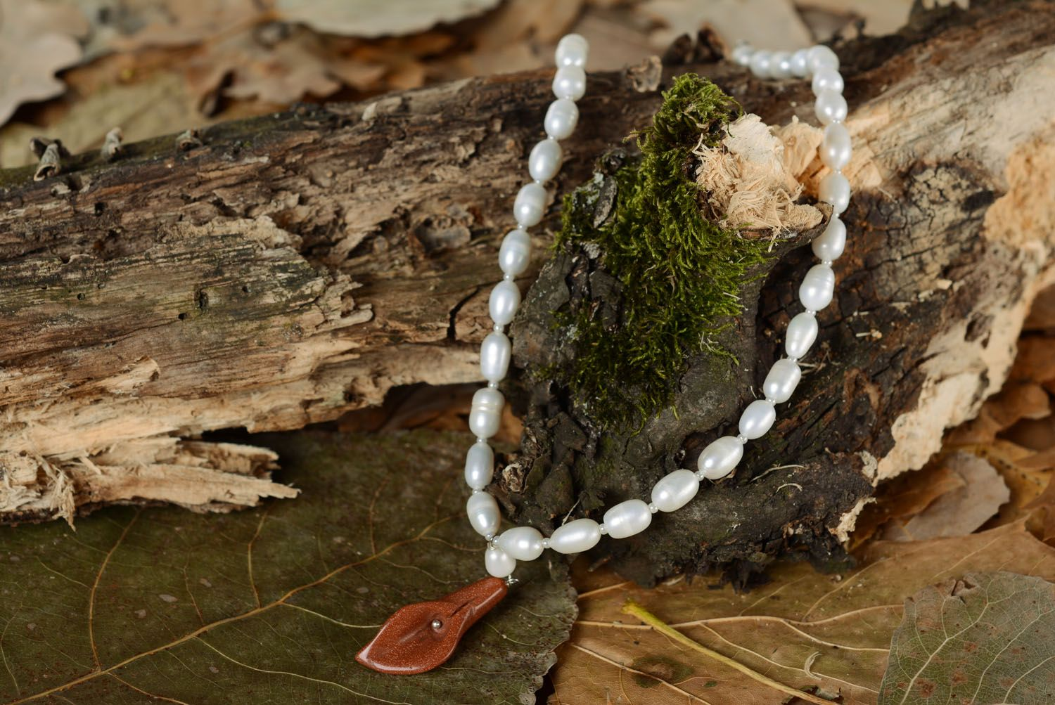 Necklace with pearls and aventurine photo 1