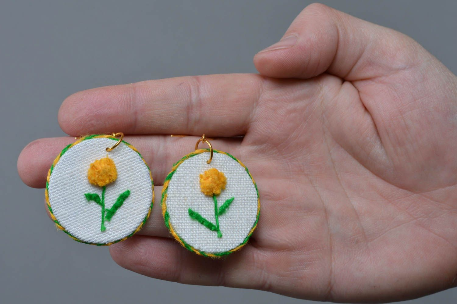 Beautiful designer handmade round linen fabric earrings with yellow flowers photo 4