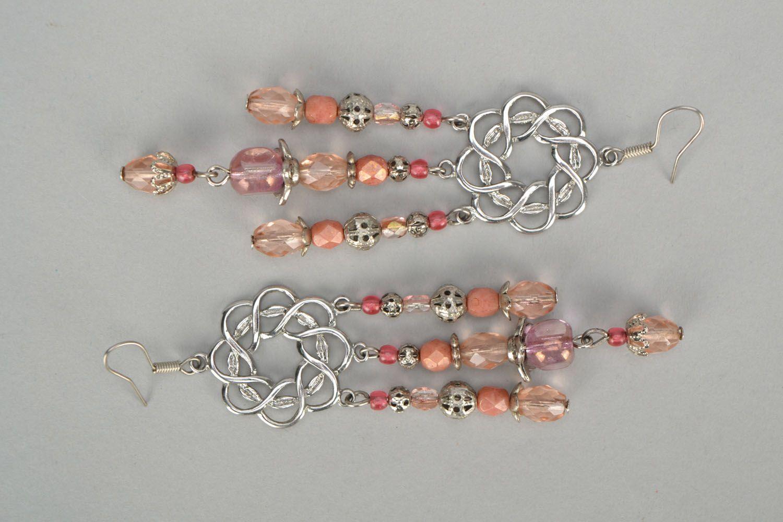 Long metal and glass earrings photo 3