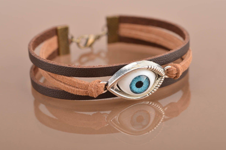 Handmade leather bracelet against the evil eye unisex designer accessory photo 2