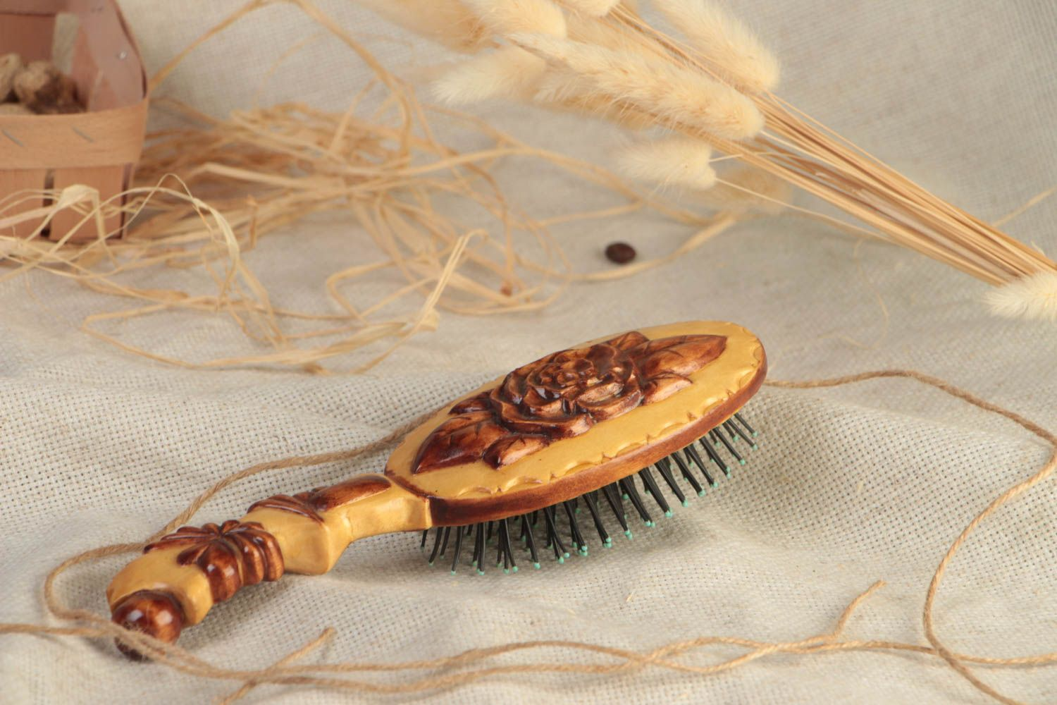 Beautiful varnished handmade carved wooden hair brush eco photo 1