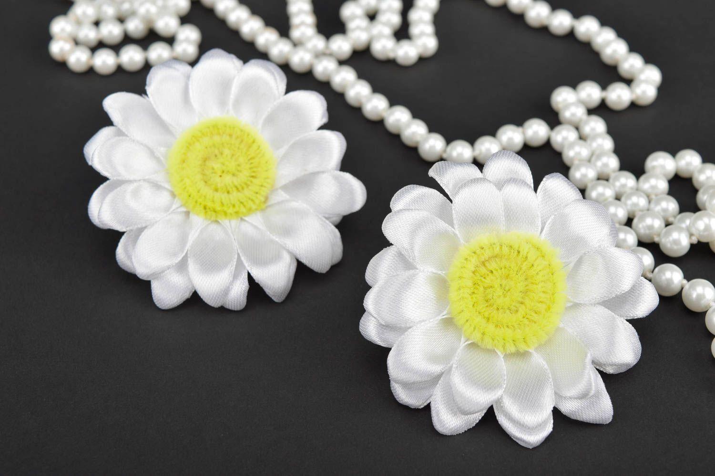 Beautiful handmade hair scrunchie textile flower hair tie trendy hair gift ideas photo 1