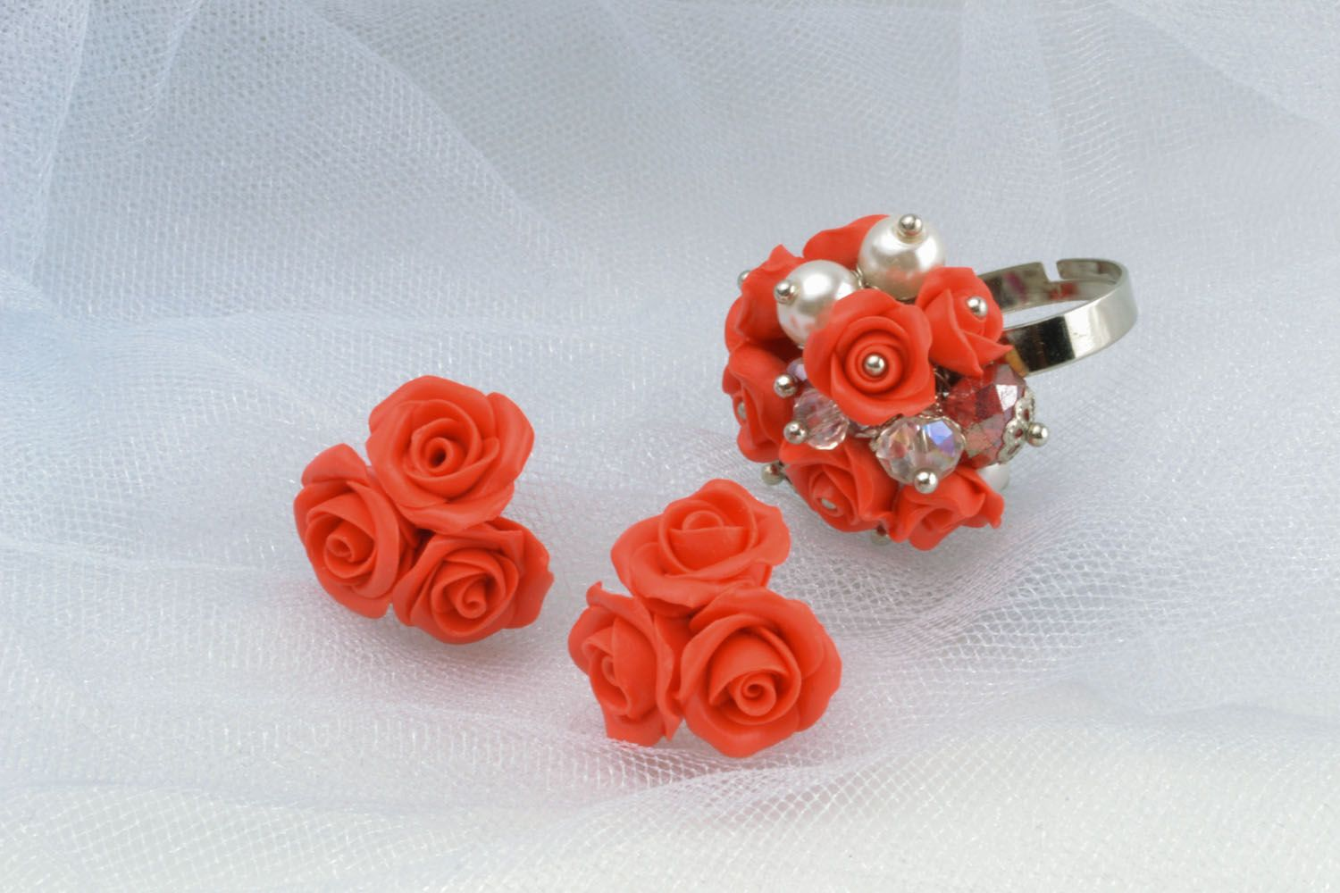 Homemade evening ring and earrings photo 1