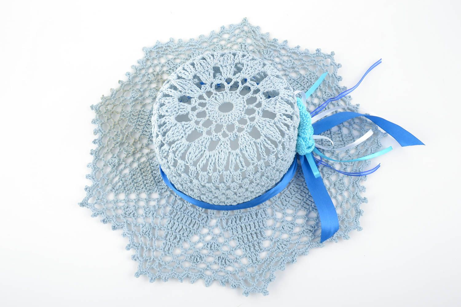 headwear Handmade cotton crocheted lacy light summer hat with blue ribbon for women - MADEheart.com