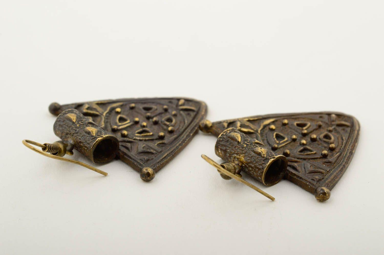 Beautiful handmade metal earrings stylish bronze earrings artisan jewelry photo 5