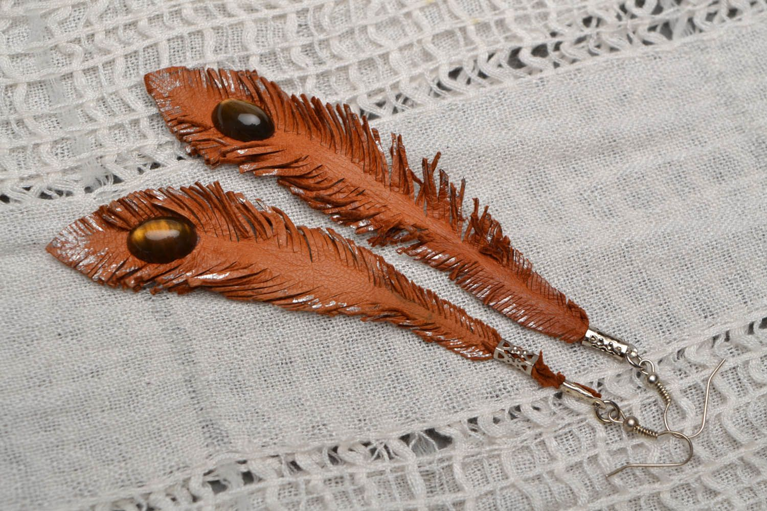 Long leather earrings Feathers photo 1