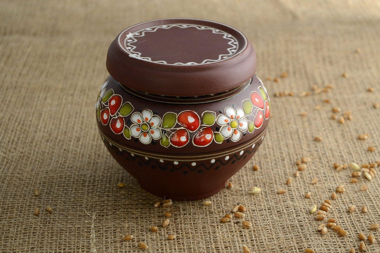 посуда Горшок глиняный расписной - MADEheart.com