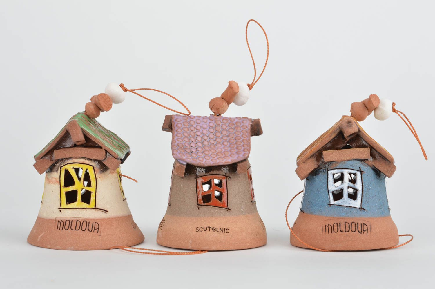 Set of handmade designer clay bells coated with glaze Houses 3 pieces photo 2