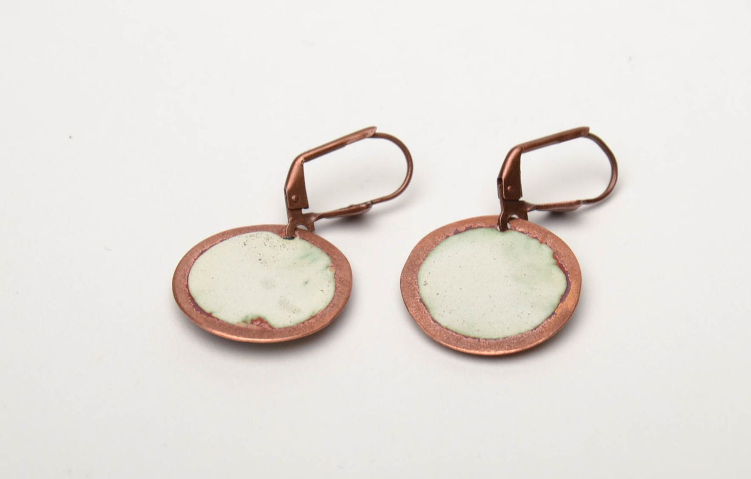 Unusual round copper earrings painted with enamels photo 5