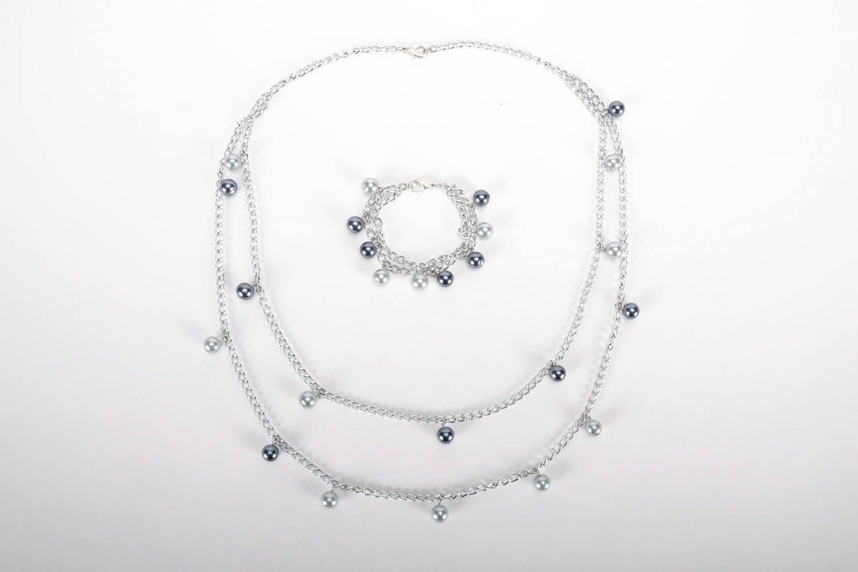 Schmuck Set: Kette und Armband mit böhmischen Glasperlen foto 2