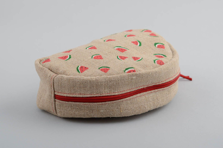 Bolsas para cosméticos Bolso portacosméticos de tela semicircular pequeño con estampado hecho a mano , MADEheart