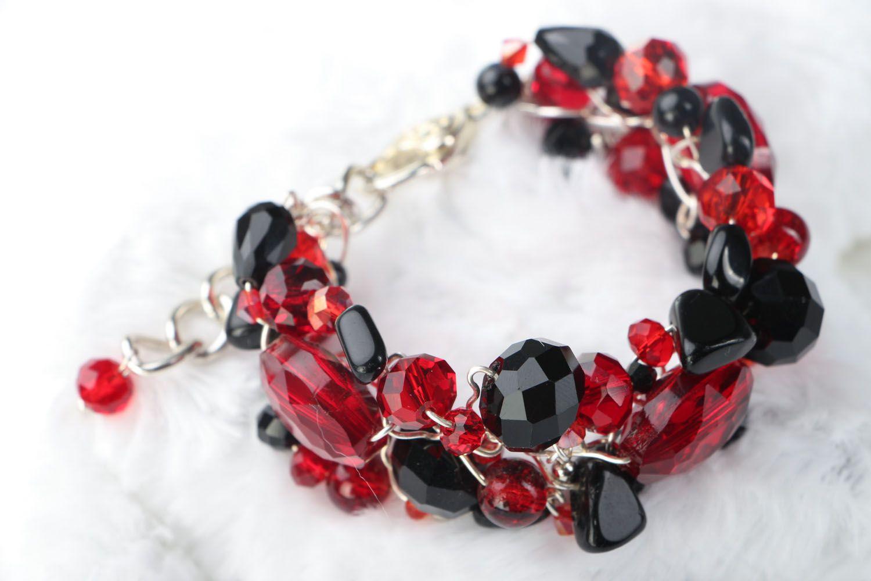 Breites Armband aus böhmischen Kristallen und Agat  foto 1