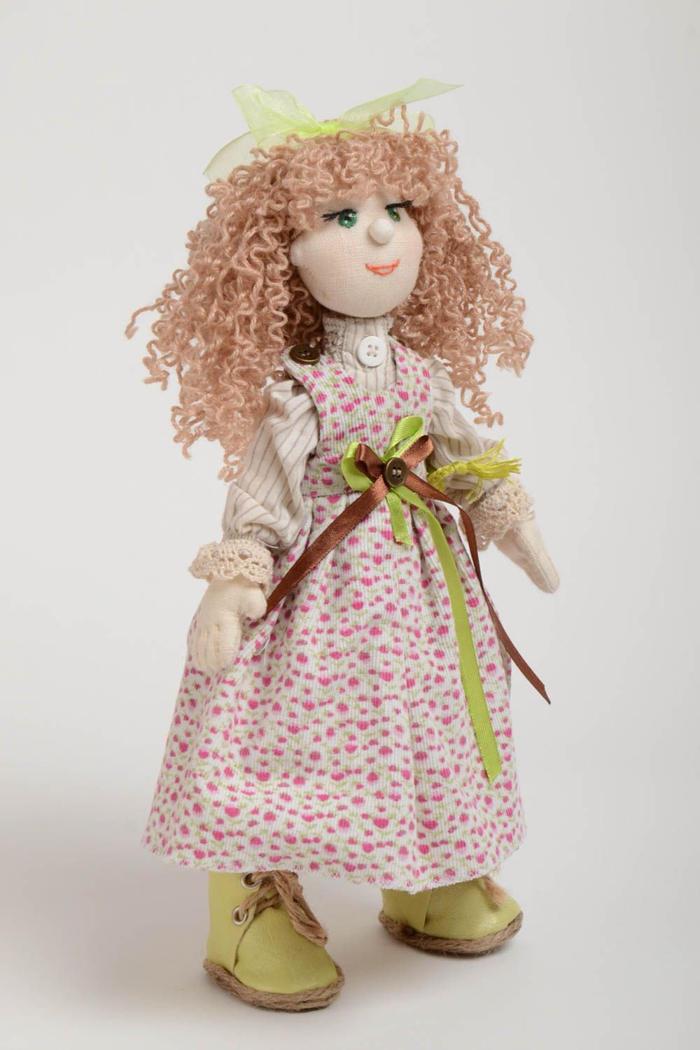 Designer fabric doll made of natural materials with movable limbs home decor photo 2