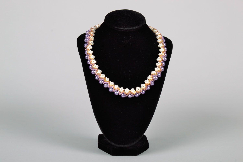 Lila Collier aus Perlen foto 2