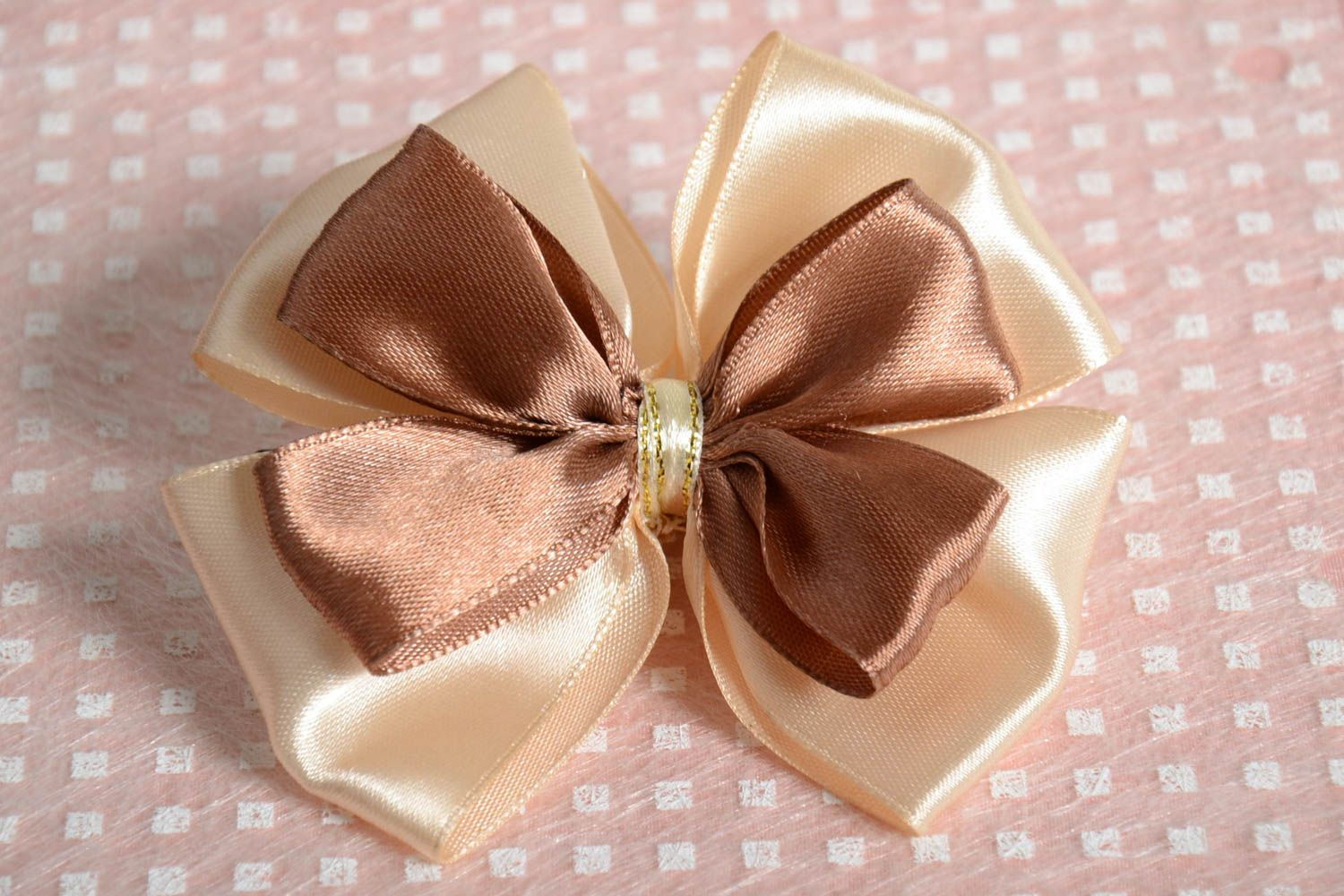 Handmade unusual hair clip accessory in shape of bow stylish satin hair clip photo 1
