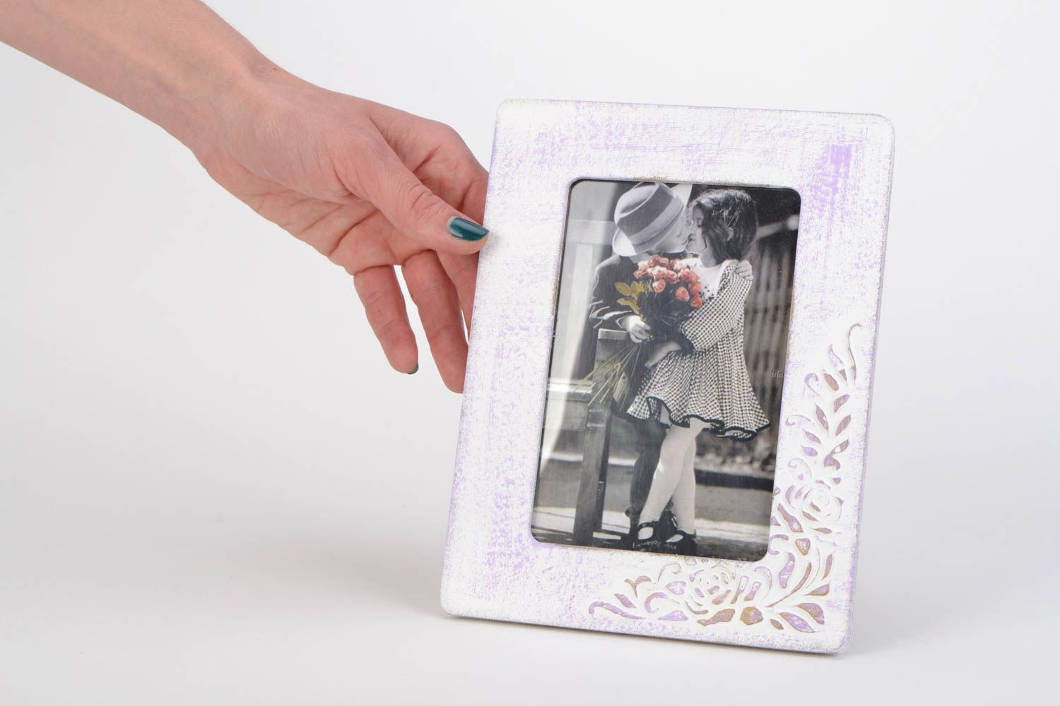 Unusual handmade light plywood photo frame with pattern photo 2