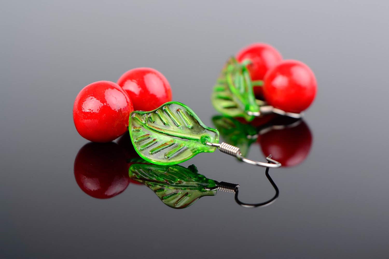 Ohrringe Kirschen aus Polymerton foto 1