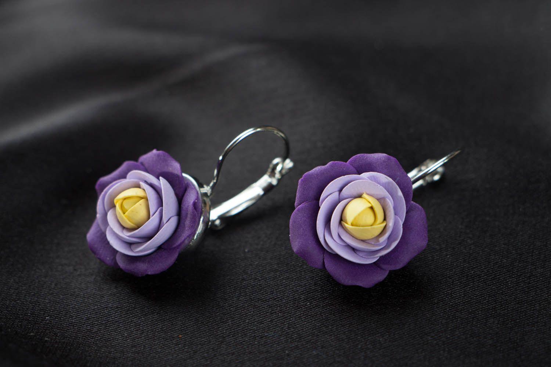 Handmade purple earrings  photo 2