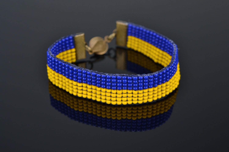 Yellow-blue bead bracelet photo 1