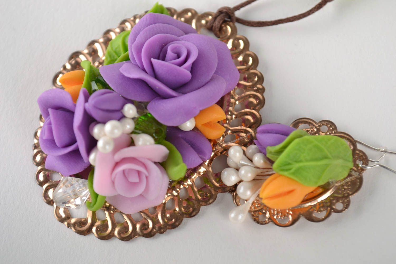Jewelry set flower jewelry handmade earrings pendant necklace fashion jewelry photo 3