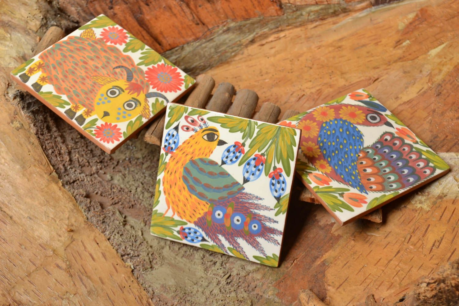 decorative handmade tiles Set of 3 handmade ceramic tiles painted with engobes eco friendly wall panels - MADEheart.com