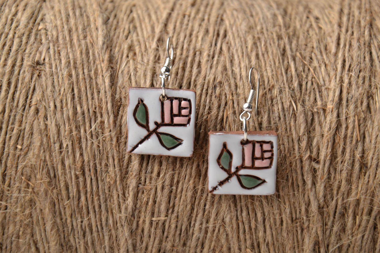 Ceramic earrings in ethnic style photo 1