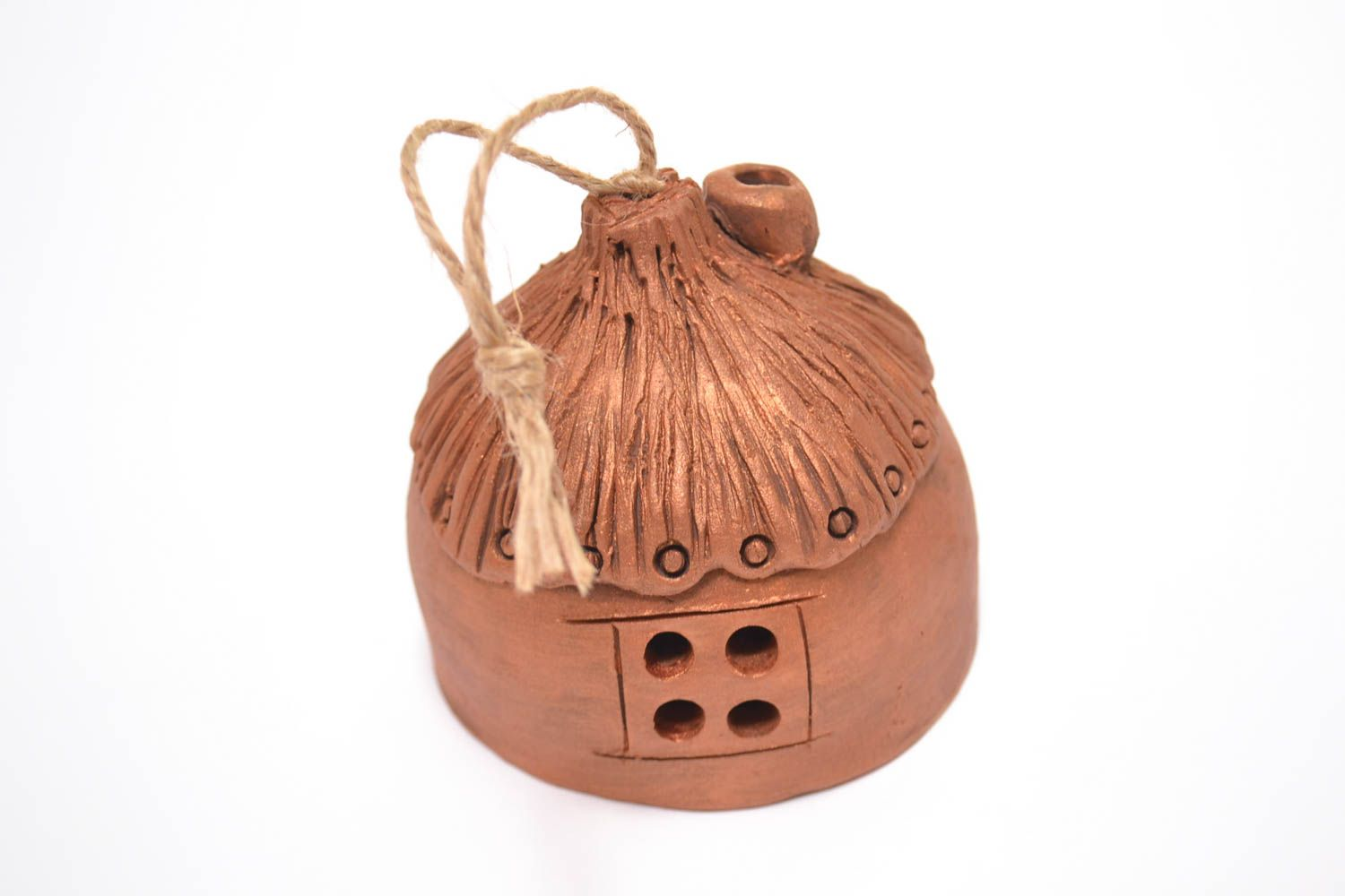 Unusual handmade ceramic bell clay bell wall hanging decorative use only photo 1