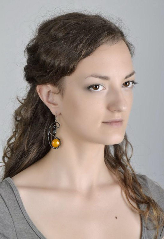 Beautiful long glass earrings photo 5