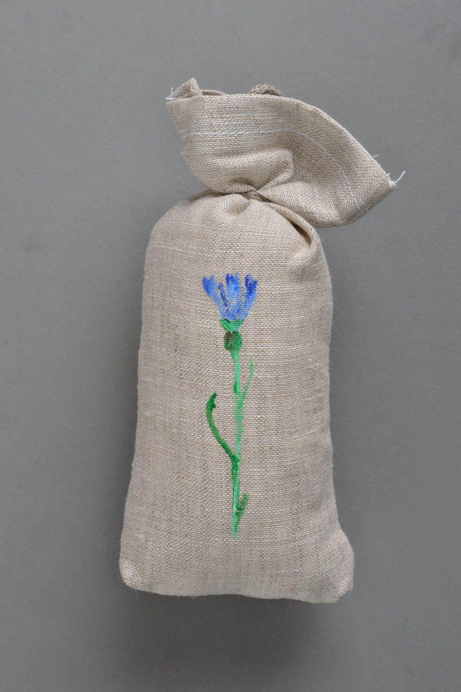 Handmade cushion scented sachets natural linen fabric painted cornflower photo 2