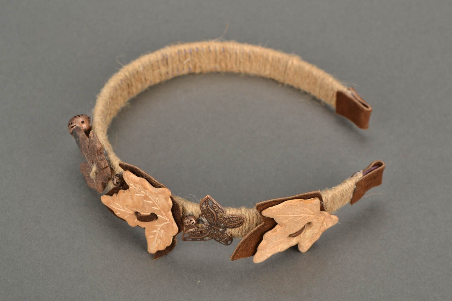Hairband with leather insets photo 3
