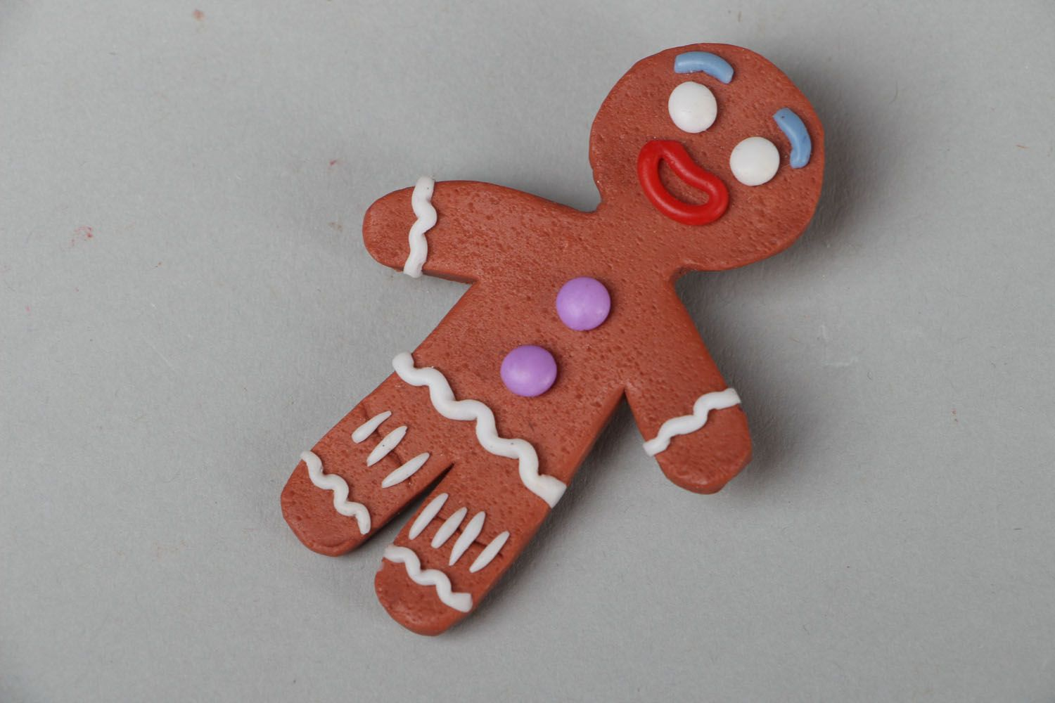 Polymer clay brooch Ginger Man photo 1