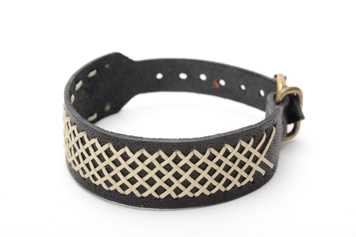 leather bracelets Handmade genuine leather wide bracelet of black color unisex - MADEheart.com