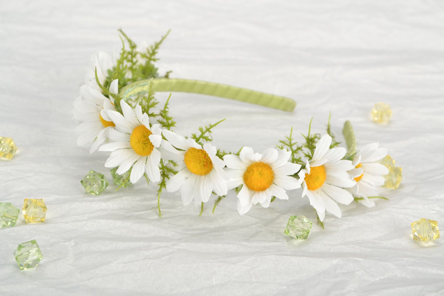 Handmade headband with flowers photo 1