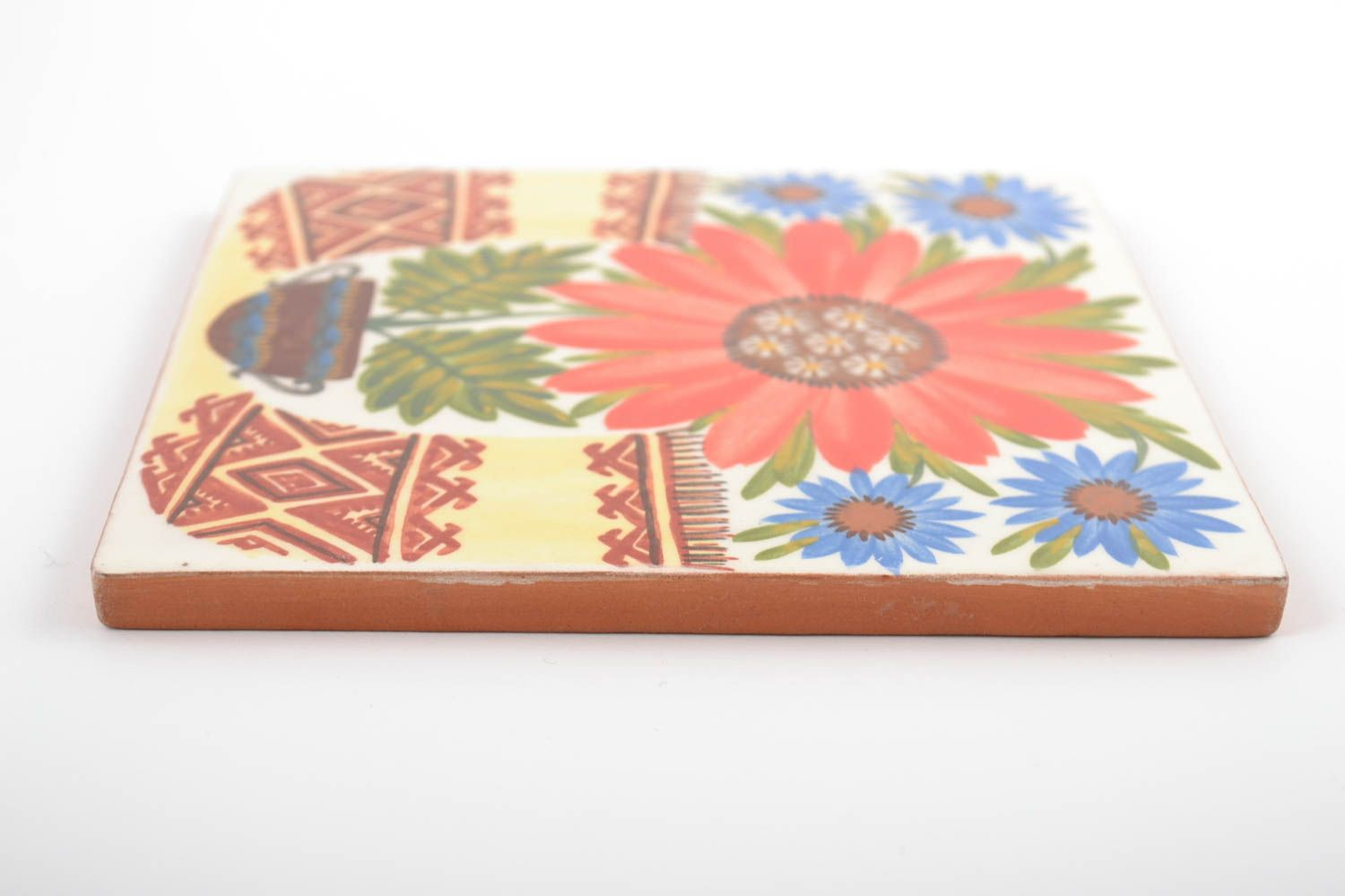 Square handmade wall tile with flowers made of clay colorful interior wall panel photo 4