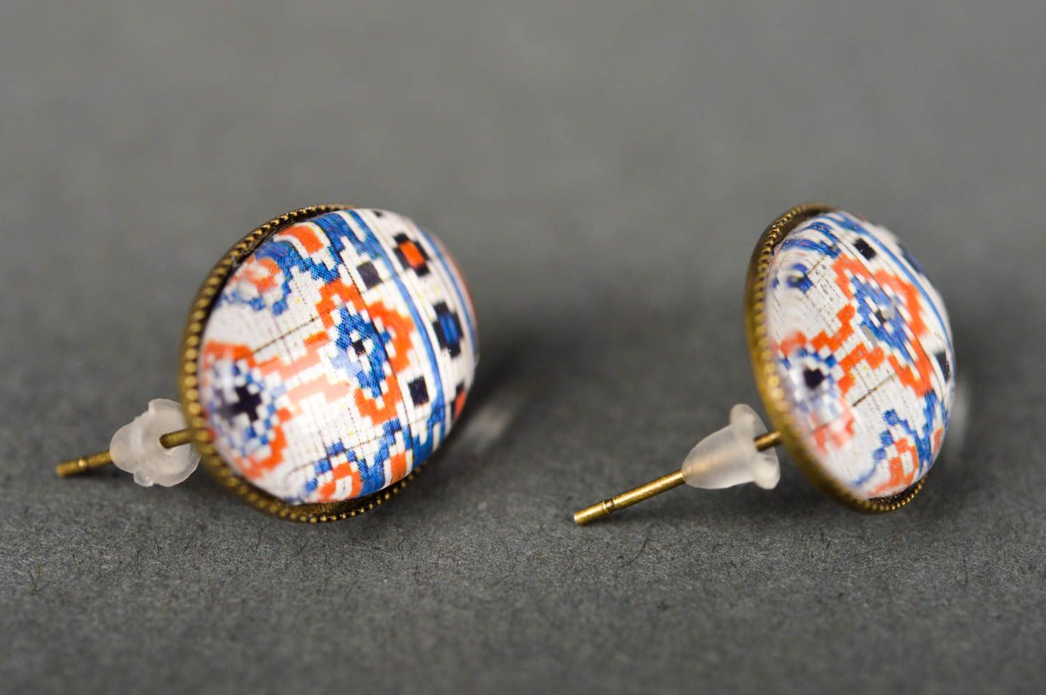 Handmade earrings with print cabochon jewelry elegant earrings with charms photo 5