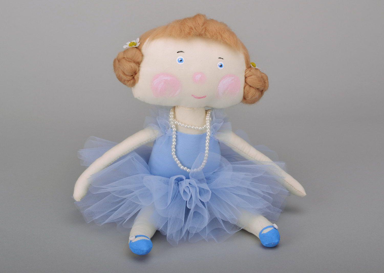 Fabric doll Girl in blue tutu photo 2