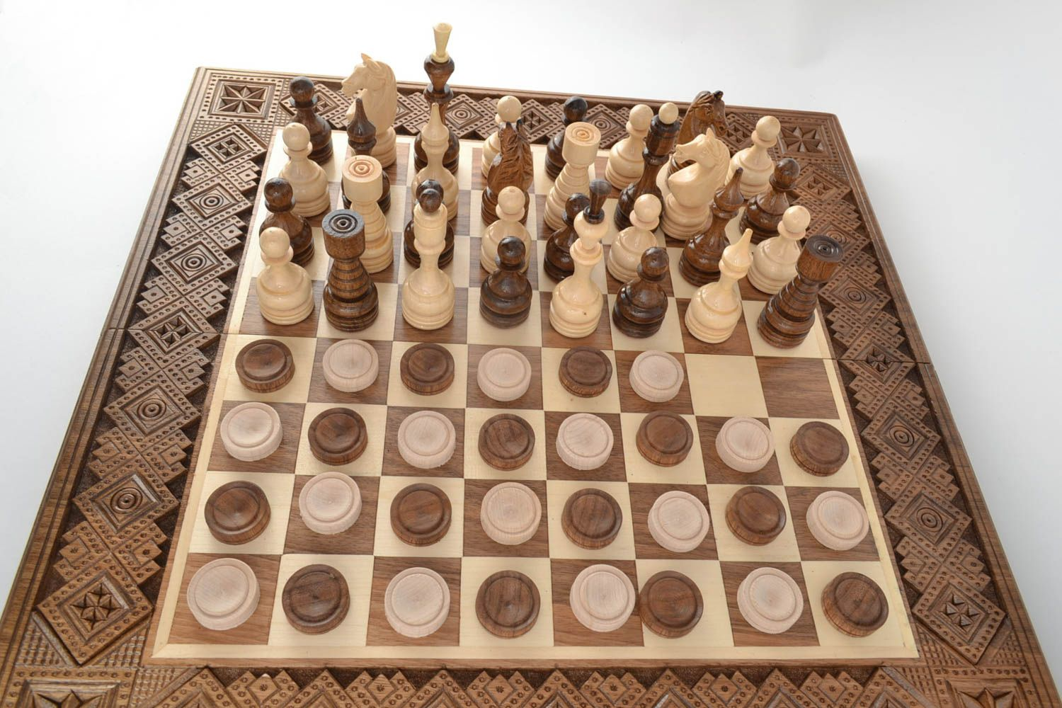 Handmade wooden table game chess and checkers beautiful carved chess board - MADEheart.com