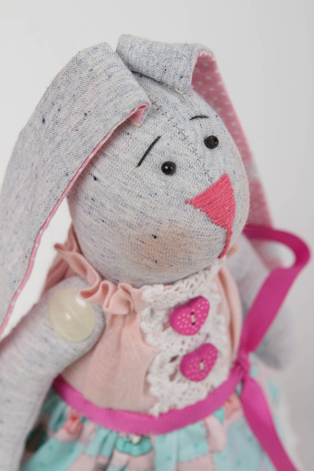 Handmade toy soft hare toy handmade hare toy fabric hare cotton toy linen toy photo 3