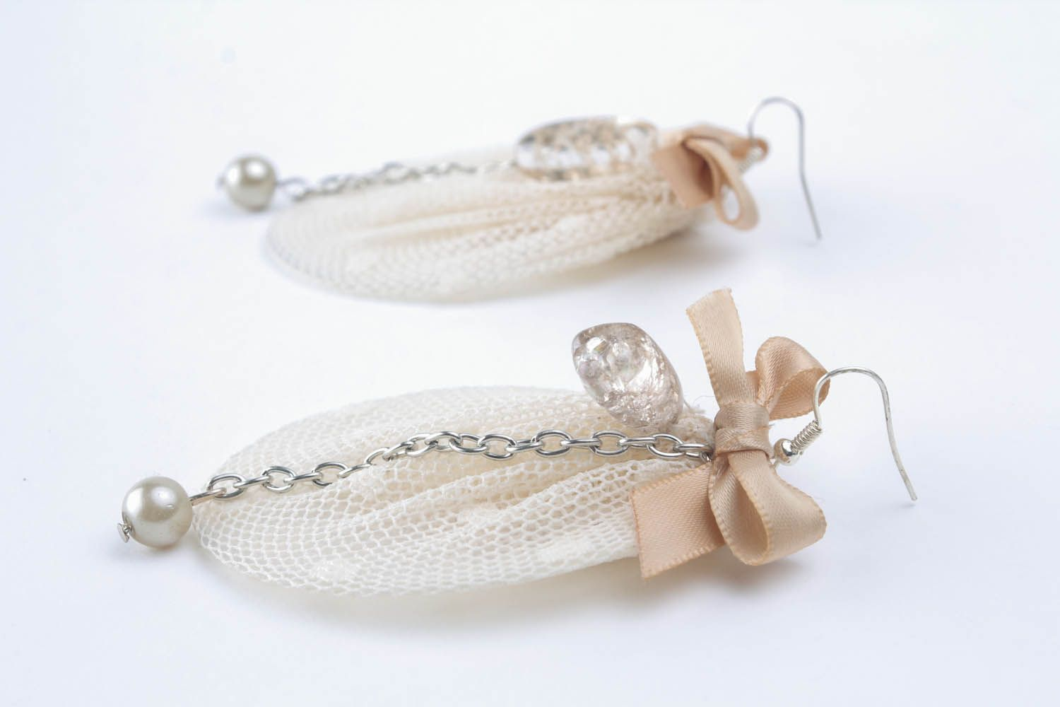 Earrings with lace and bows photo 3