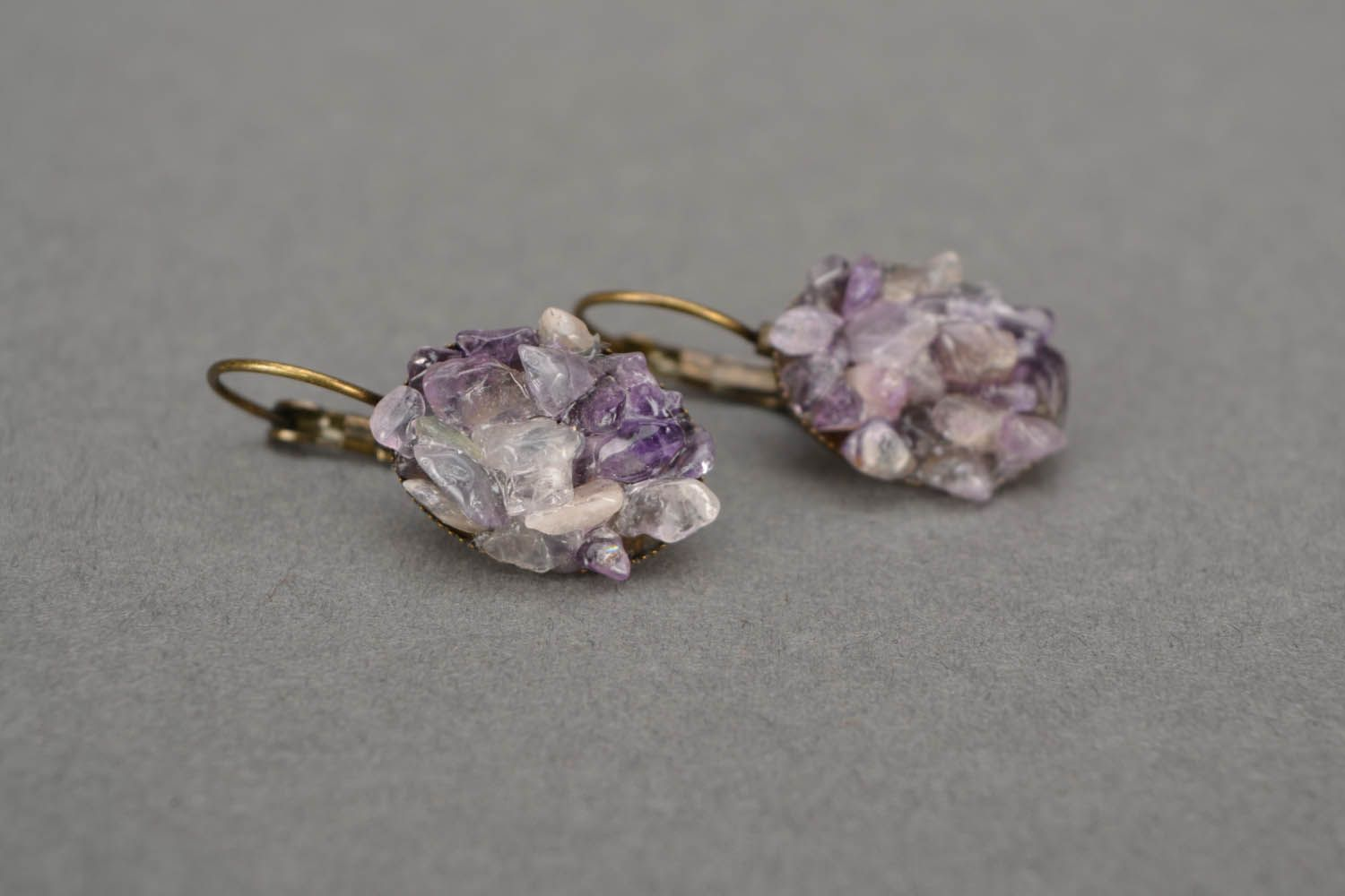 Oval amethyst earrings  photo 3