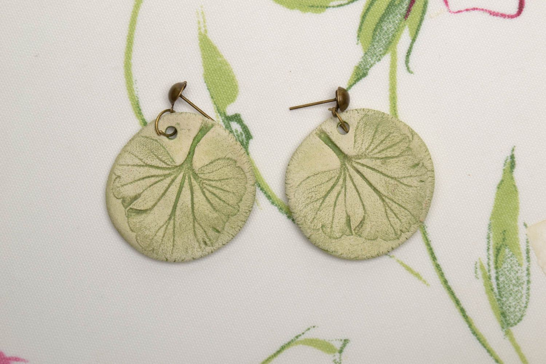 Ceramic round earrings photo 1